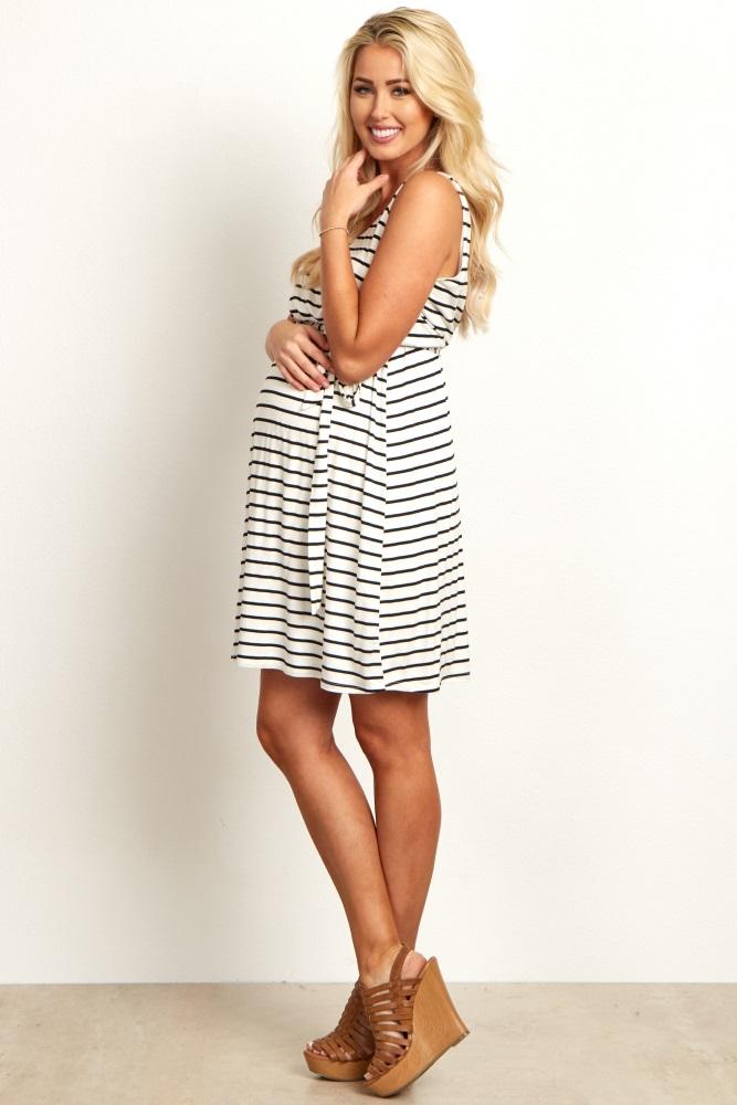 e041fa32502 White Striped Sash Tie Draped Back Maternity Dress