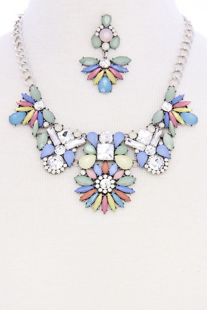 Silver Chain Turquoise Floral Design Statement Necklace With Earrings