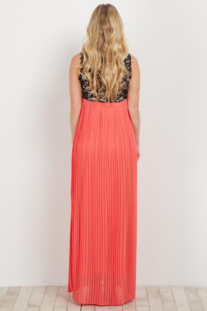 3a4c90aa0ae7 Coral Pleated Chiffon Lace Top Maternity Maxi Dress