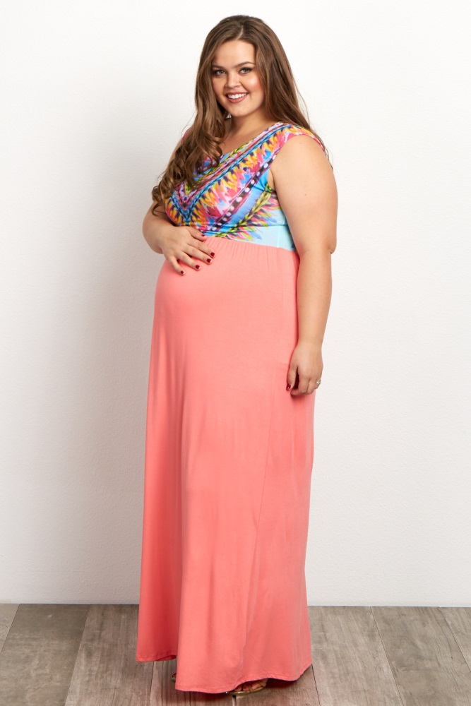 Coral Neon Printed Plus Size Maternity Maxi Dress