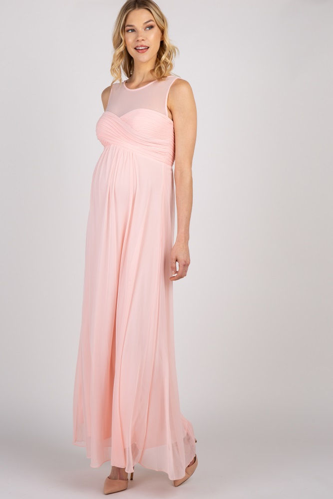84722306eb8c4 Light Pink Mesh Neckline Ruched Bust Maternity Evening Gown