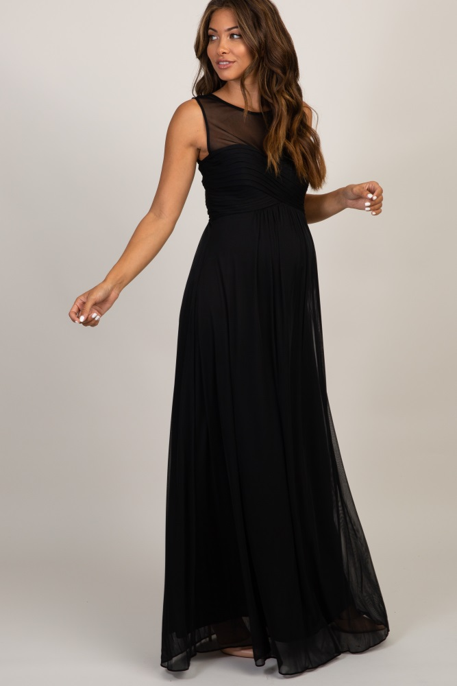 1f07563cb8067 Black Mesh Neckline Ruched Bust Maternity Evening Gown