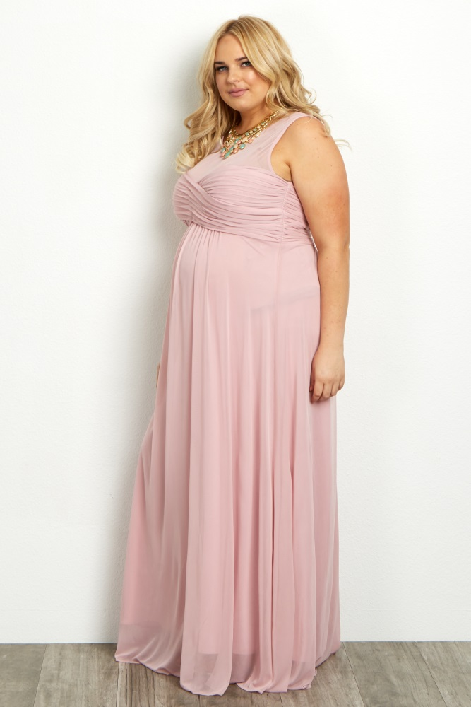 e7f05f9b8dd Light Pink Mesh Neckline Ruched Bust Plus Maternity Evening Gown