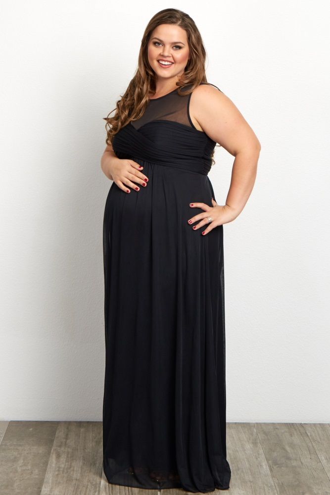 a0c7c2a5a22f8 Black Mesh Neckline Ruched Bust Plus Maternity Evening Gown
