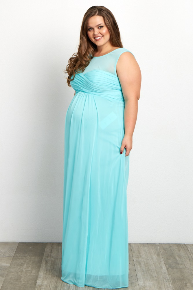 65e3f490ff518 Mint Mesh Neckline Ruched Bust Plus Maternity Evening Gown
