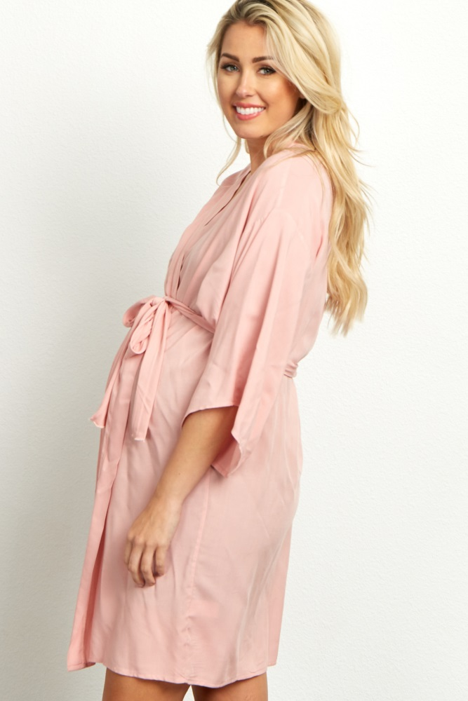 07a3df9831e98 Light Pink Solid Delivery/Nursing Maternity Robe