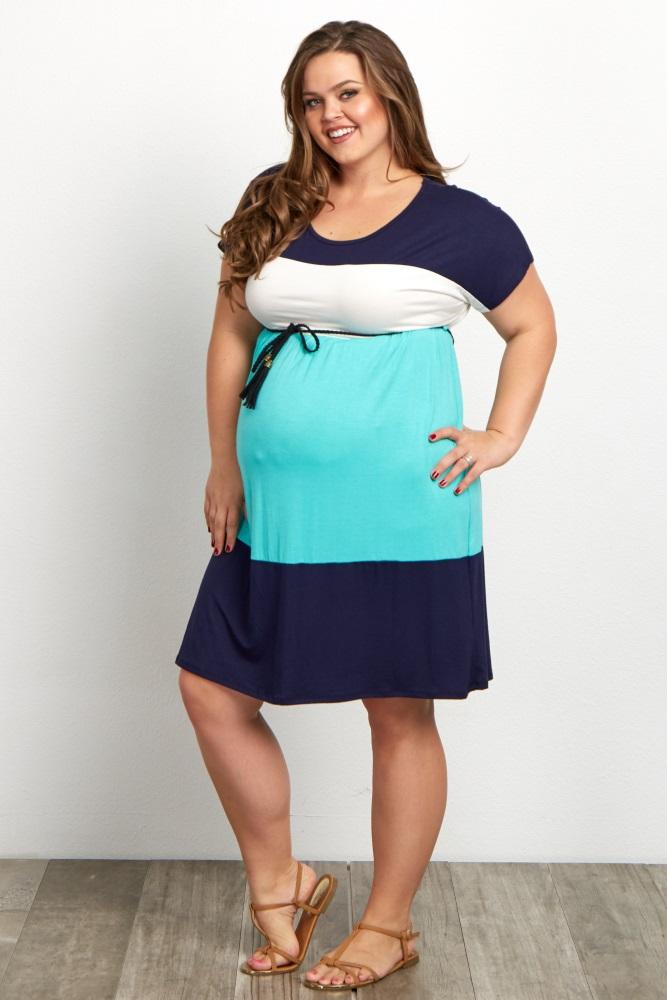 Navy Mint Colorblock Belted Short Sleeve Plus Size Maternity Dress