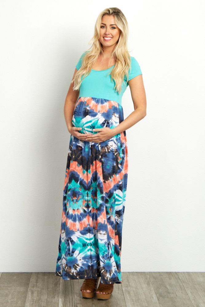 bfef1a313 Aqua Tie Dye Short Sleeve Maternity Maxi Dress