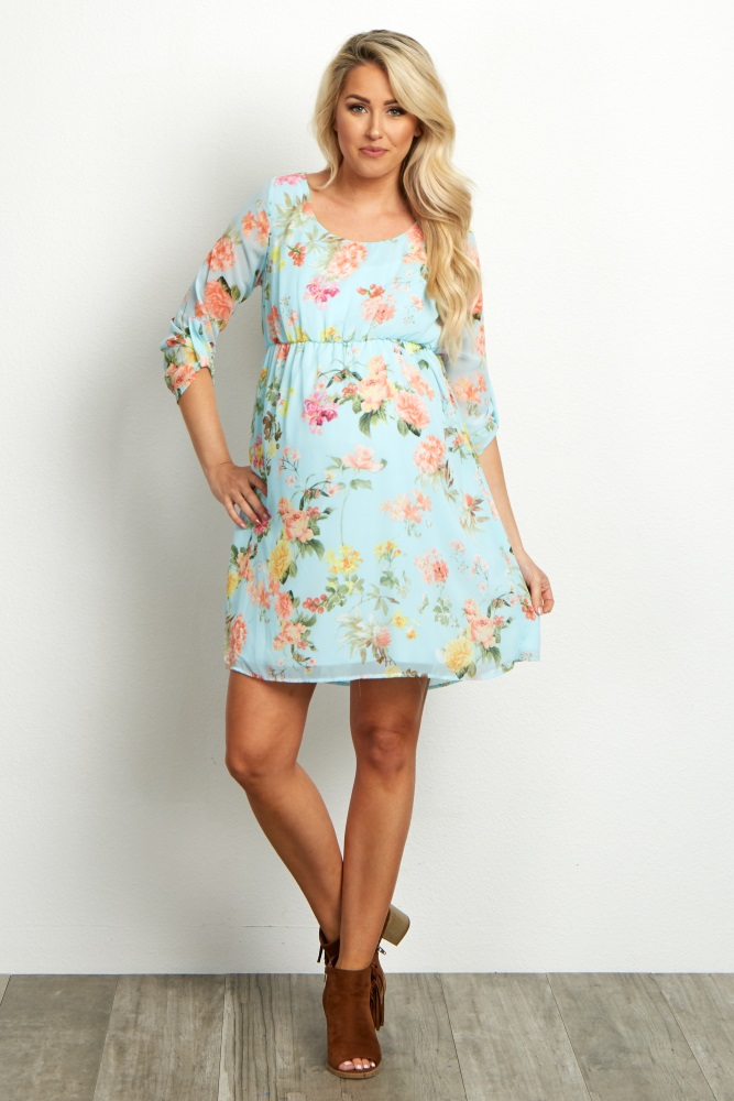 9ea92011173 Light Blue Floral Chiffon 3 4 Sleeve Maternity Dress