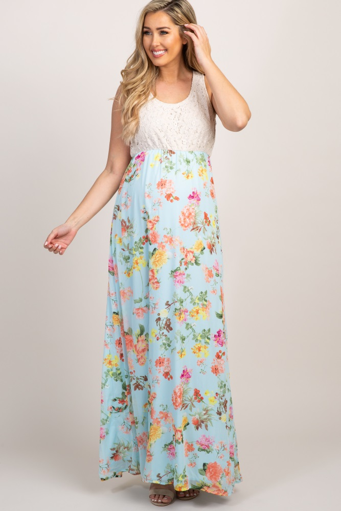 4a59193a09eda Light Blue Crochet Floral Bottom Maternity Maxi Dress