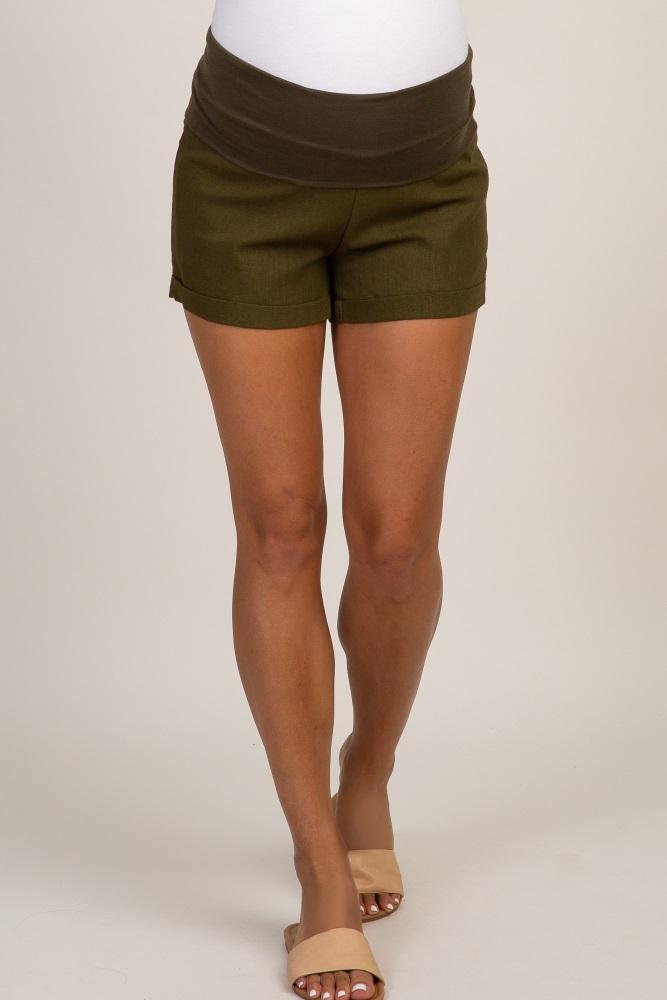 16ae915dd46b8 Olive Linen Foldover Waistband Maternity Shorts