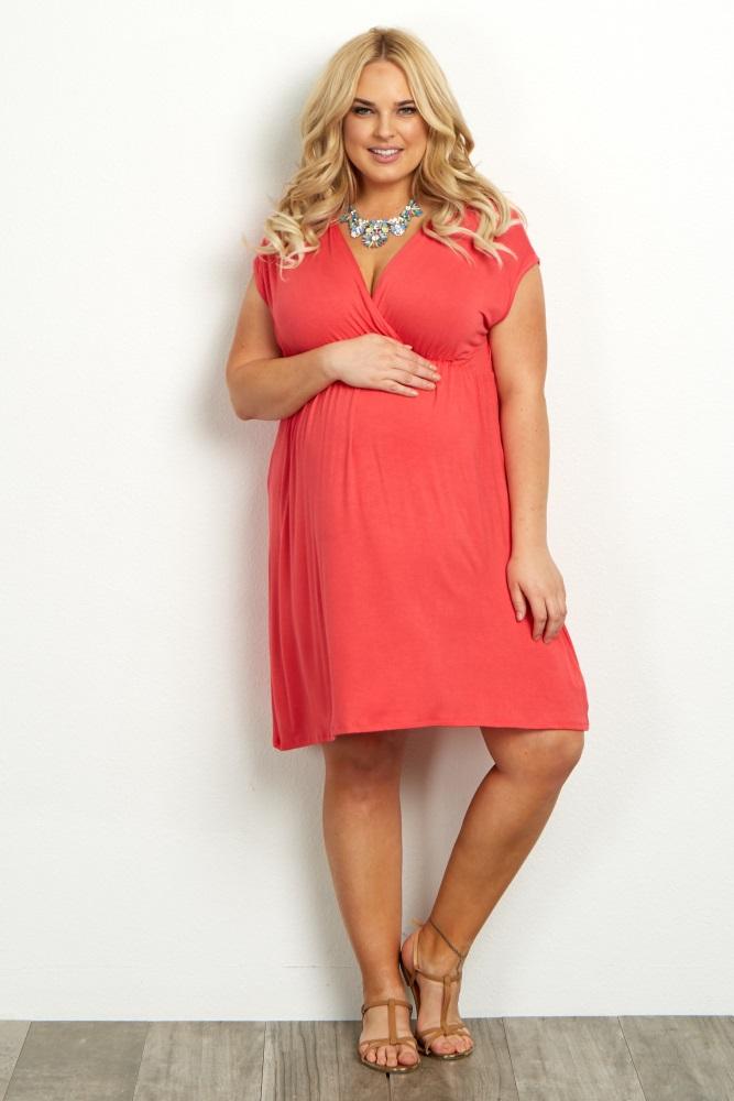 Coral Short Sleeve Plus Maternity/Nursing Dress
