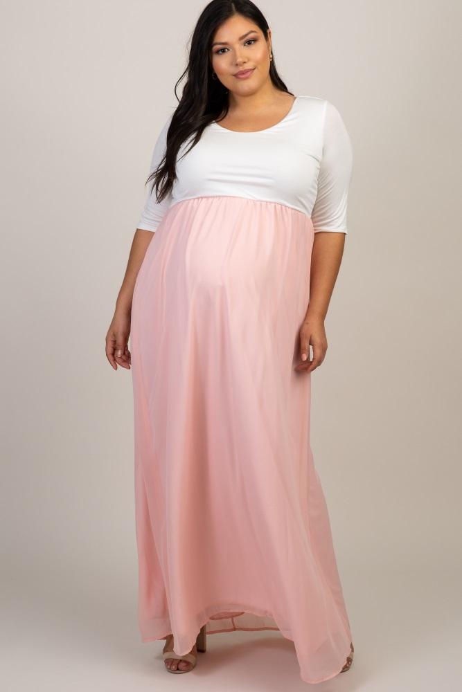 05686408509b4 Light Pink Chiffon Colorblock Plus Maternity Maxi Dress