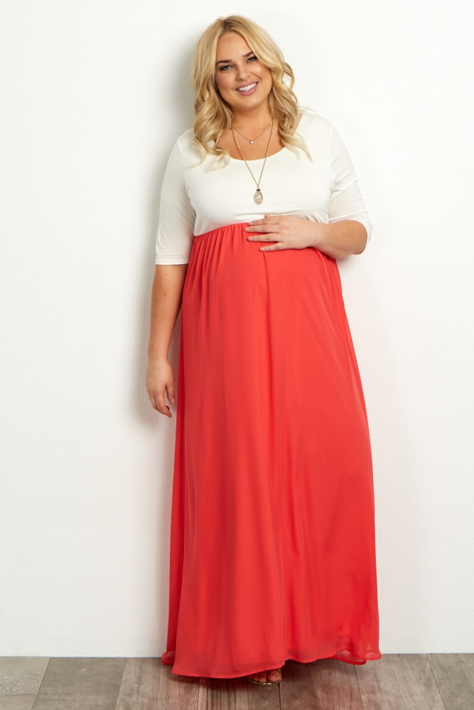 Red Chiffon Colorblock Plus Size Maternity Maxi Dress