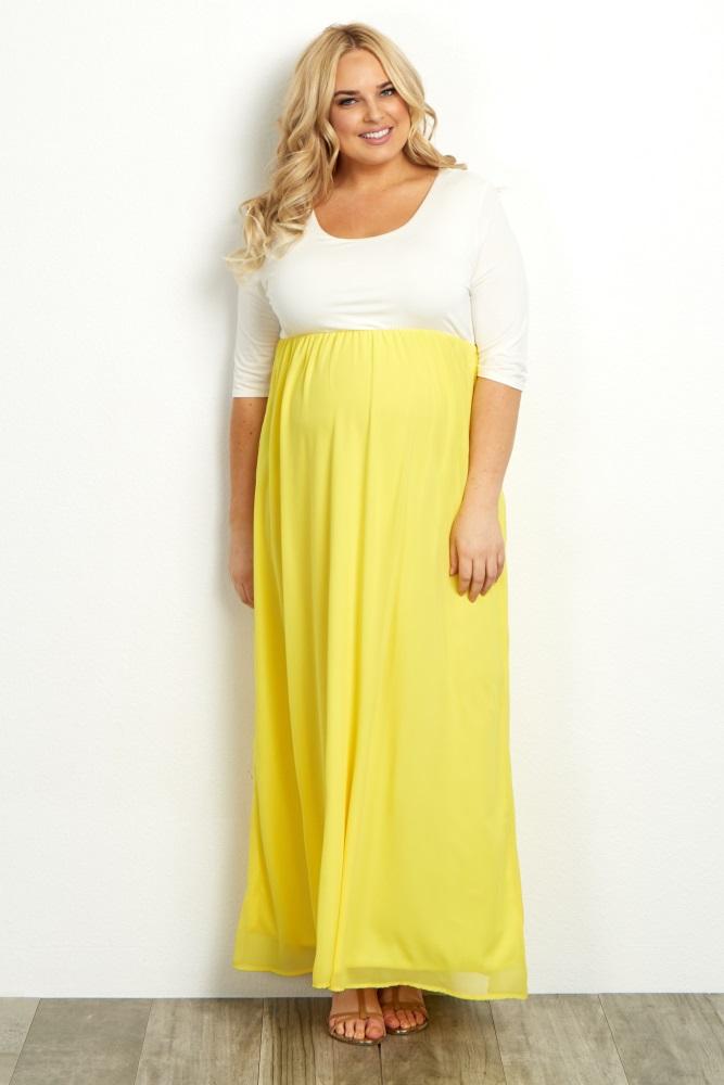 Yellow Chiffon Colorblock Plus Maternity Maxi Dress