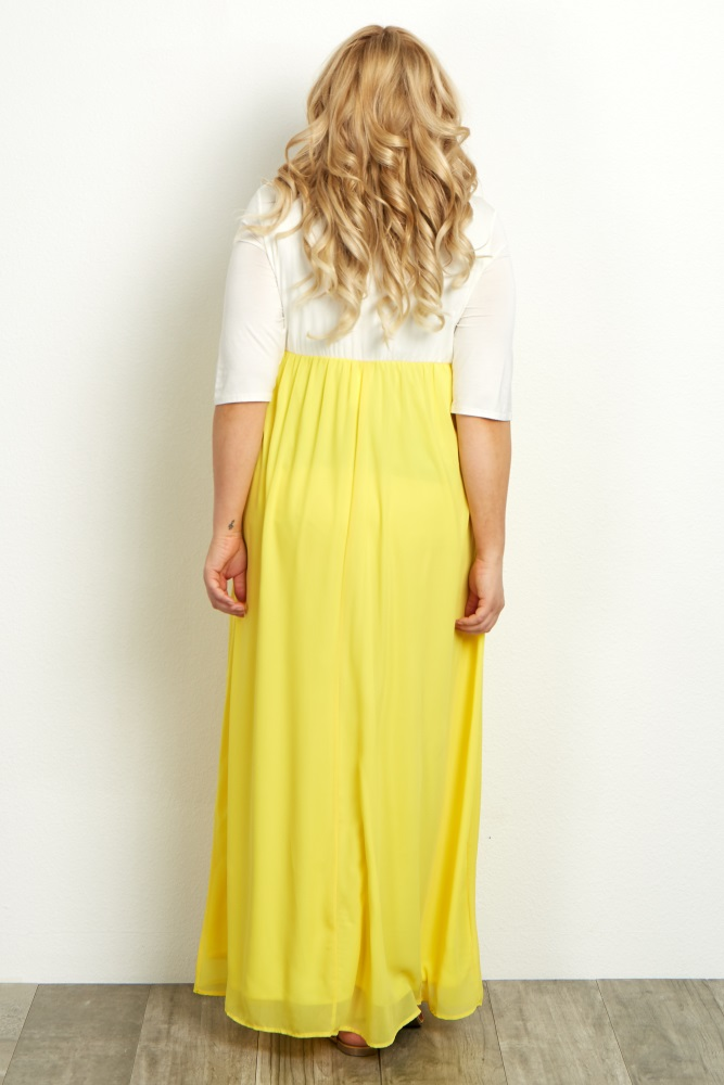 6915580d525 Yellow Chiffon Colorblock Plus Maternity Maxi Dress