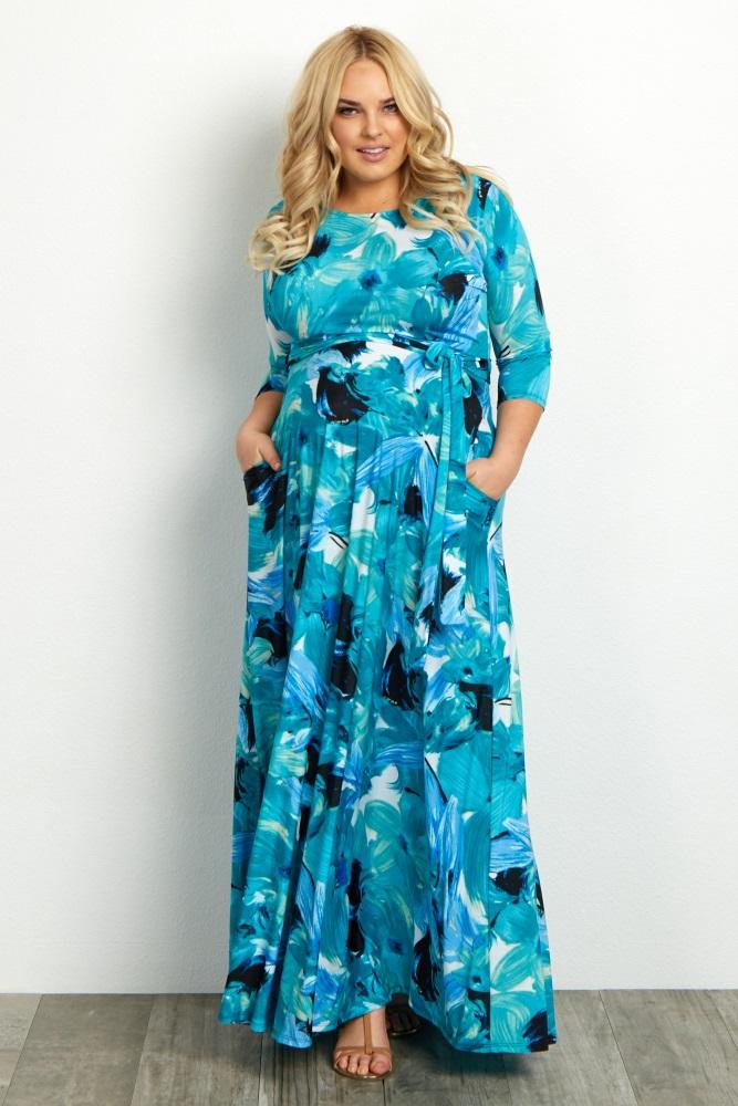 Aqua Floral Sash Tie Plus Size Maternity Maxi Dress
