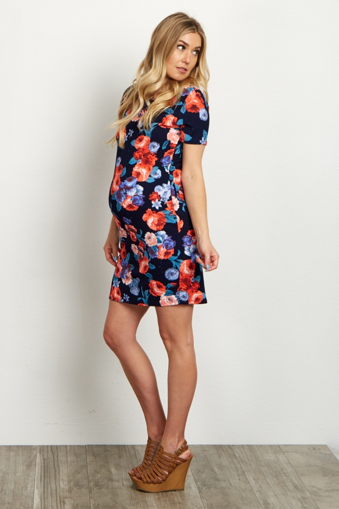 4114bb4d71ed0 Navy Blue Floral Short Sleeve Maternity Dress
