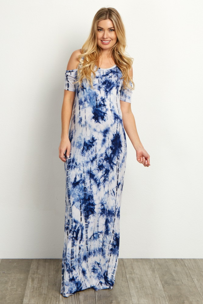 06897d428a1f7 Blue Tie Dye Cold Shoulder Maternity Maxi Dress