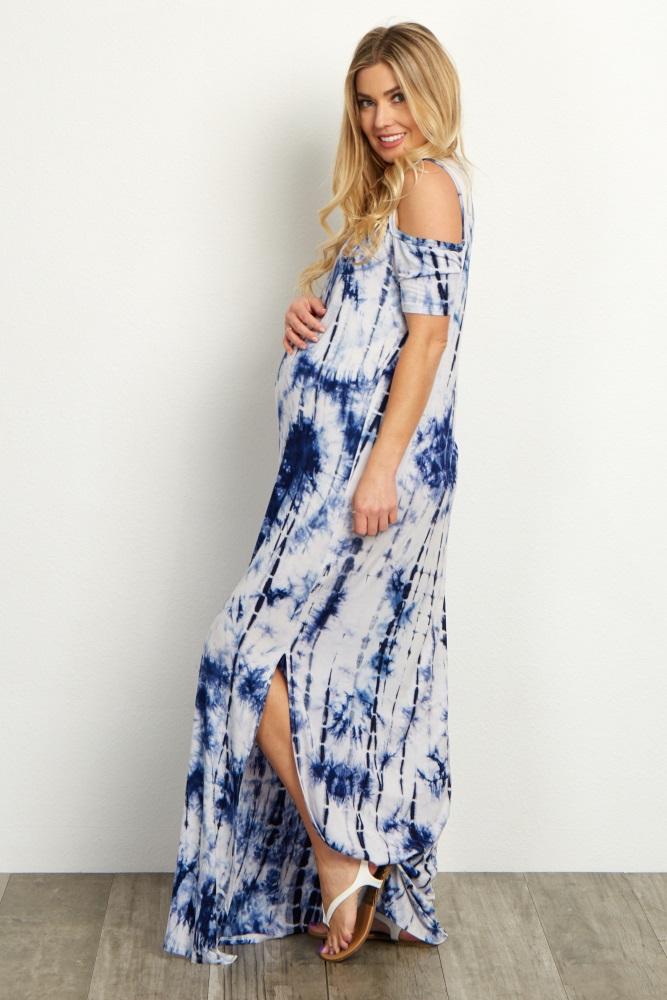 032b8564bff Blue Tie Dye Cold Shoulder Maternity Maxi Dress