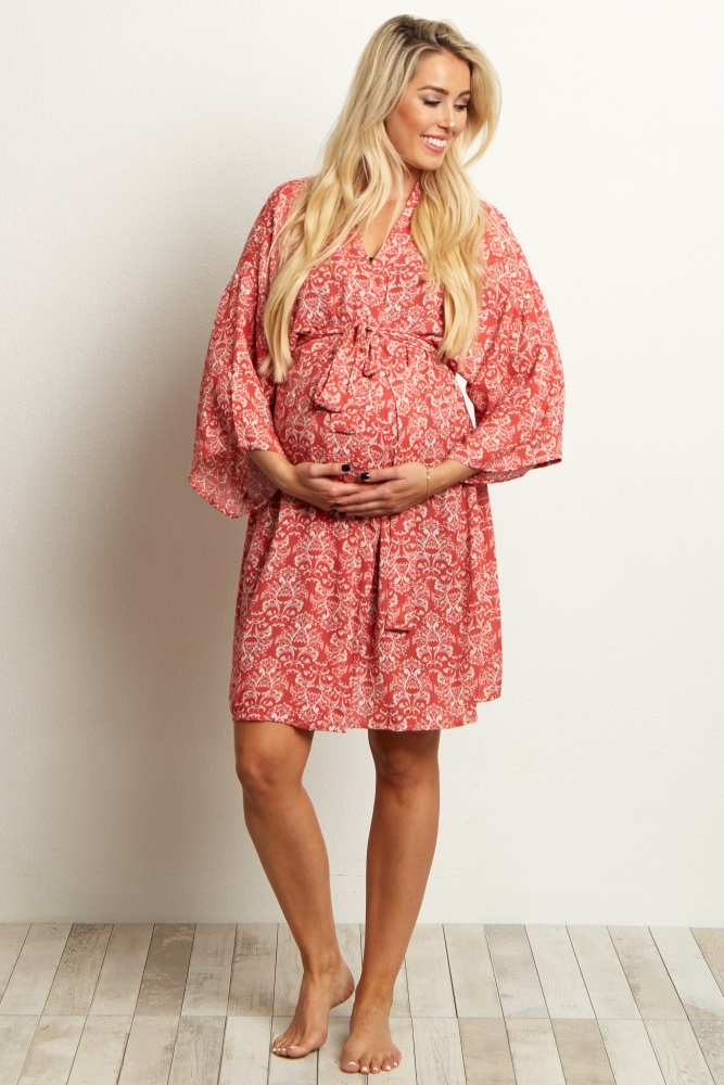 0818b9c49e7c3 Coral Damask Delivery/Nursing Maternity Robe