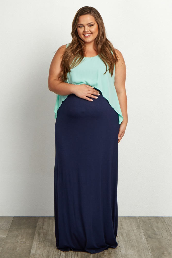 Mint Green Overlay Plus Size Maxi Dress