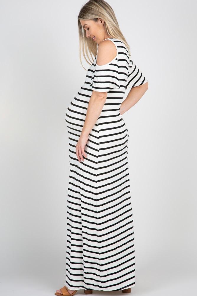 00138095477 Black Striped Cold Shoulder Maternity Maxi Dress