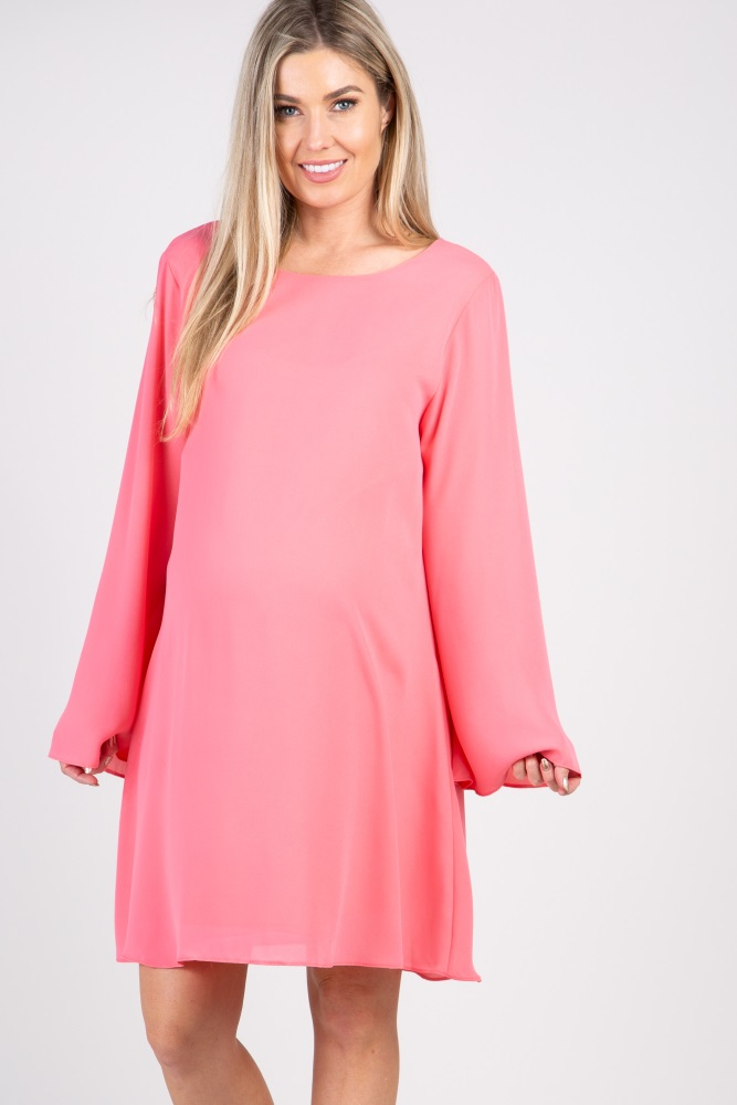 d57fa3865e65 Coral Solid Chiffon Bell Sleeve Maternity Shift Dress