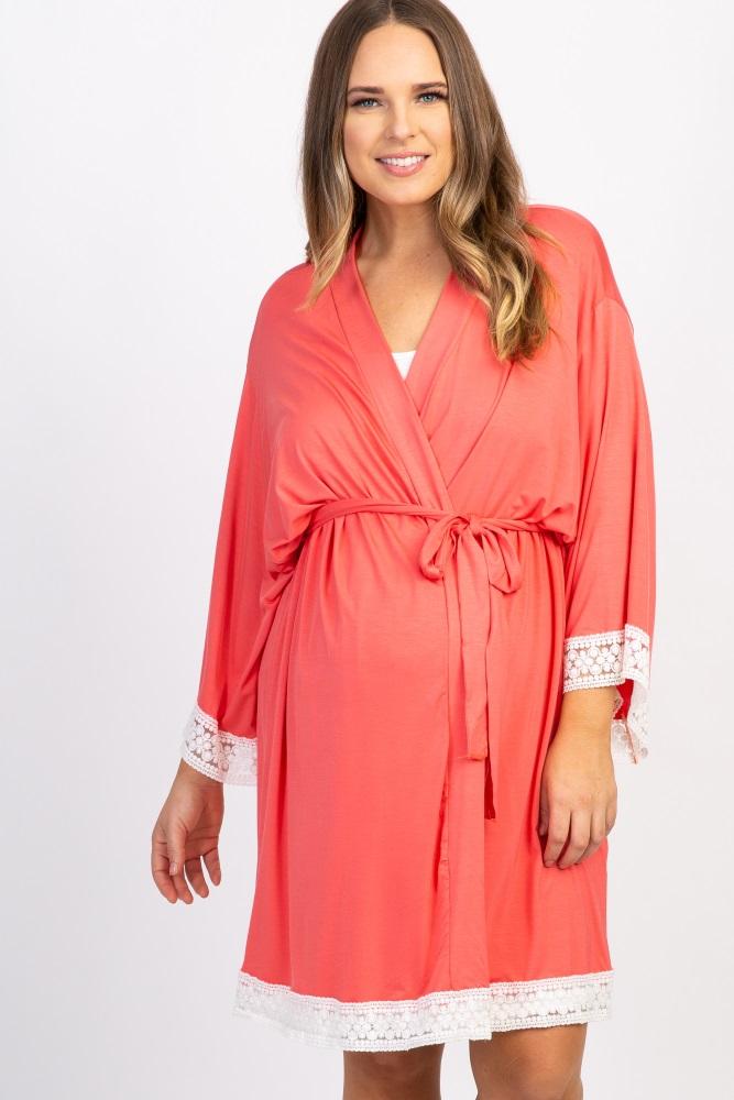 coral lace trim plus delivery/nursing maternity robe