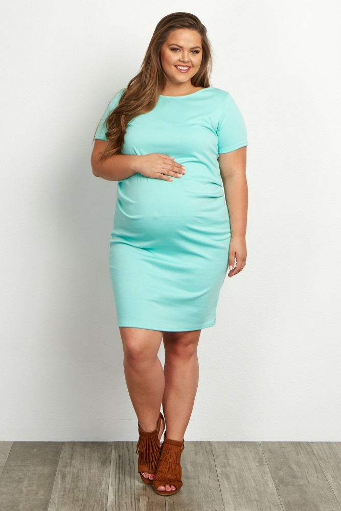 25108d46f41 Mint Green Short Sleeve Fitted Plus Size Maternity Dress