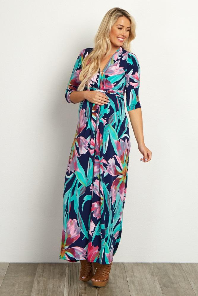 cc2a92fc009 Navy Pink Floral Wrap Maternity Maxi Dress