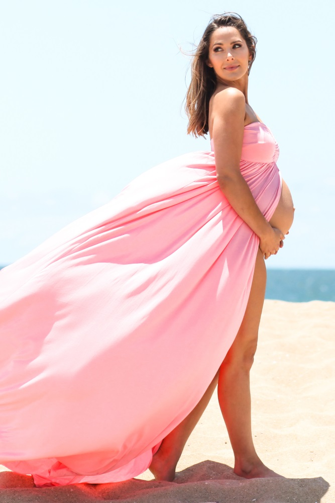 35b65187f9c Pink Strapless Open Maternity Photoshoot Gown Dress