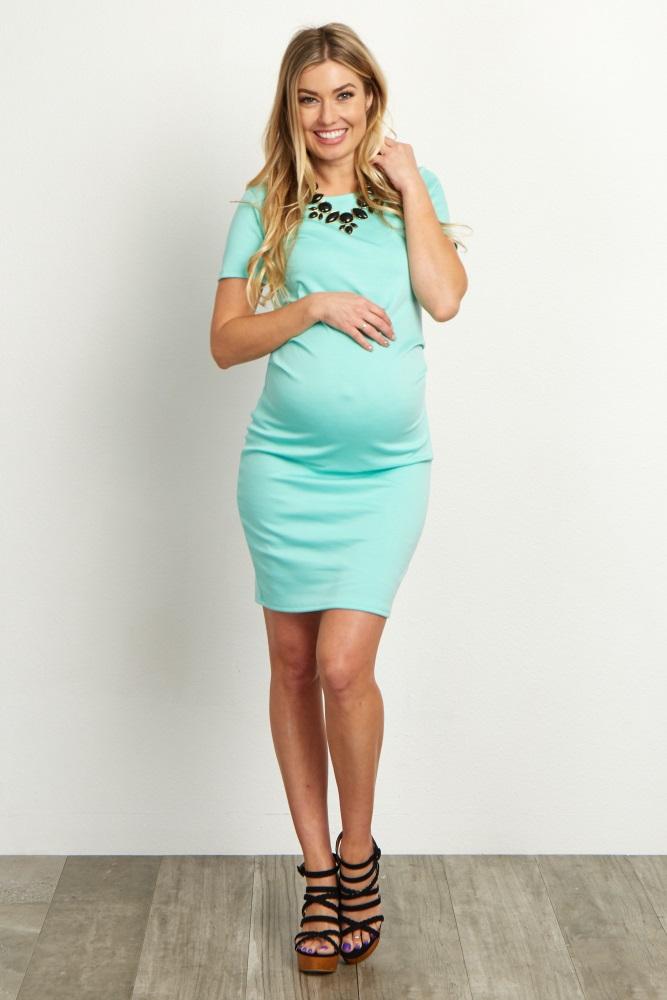 5d93c9a9b5aad Mint Short Sleeve Fitted Maternity Dress