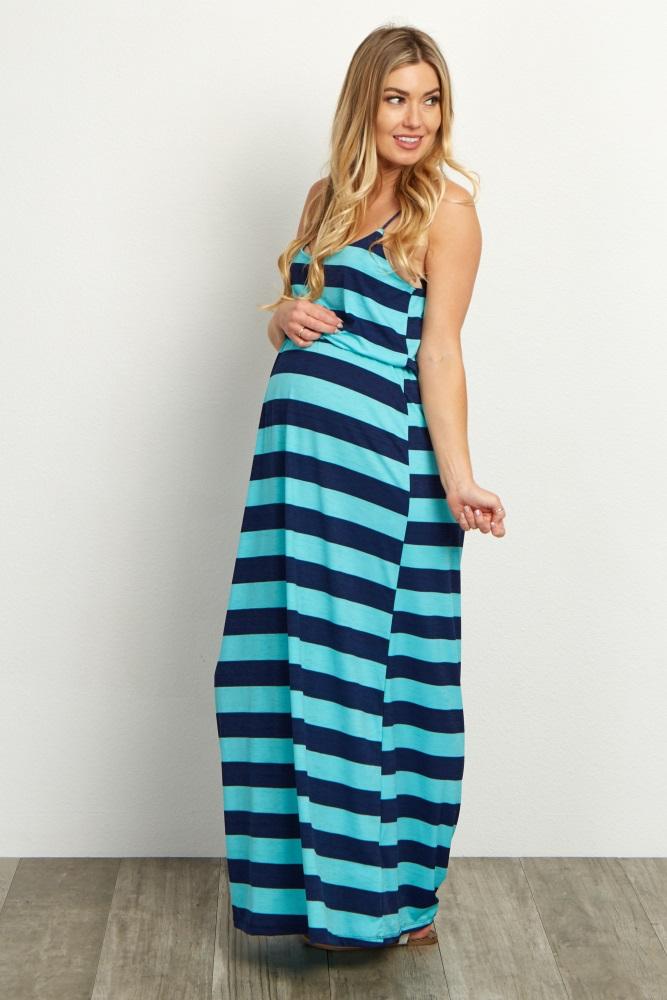 86c5f2ca554 Teal Striped Maternity Maxi Dress