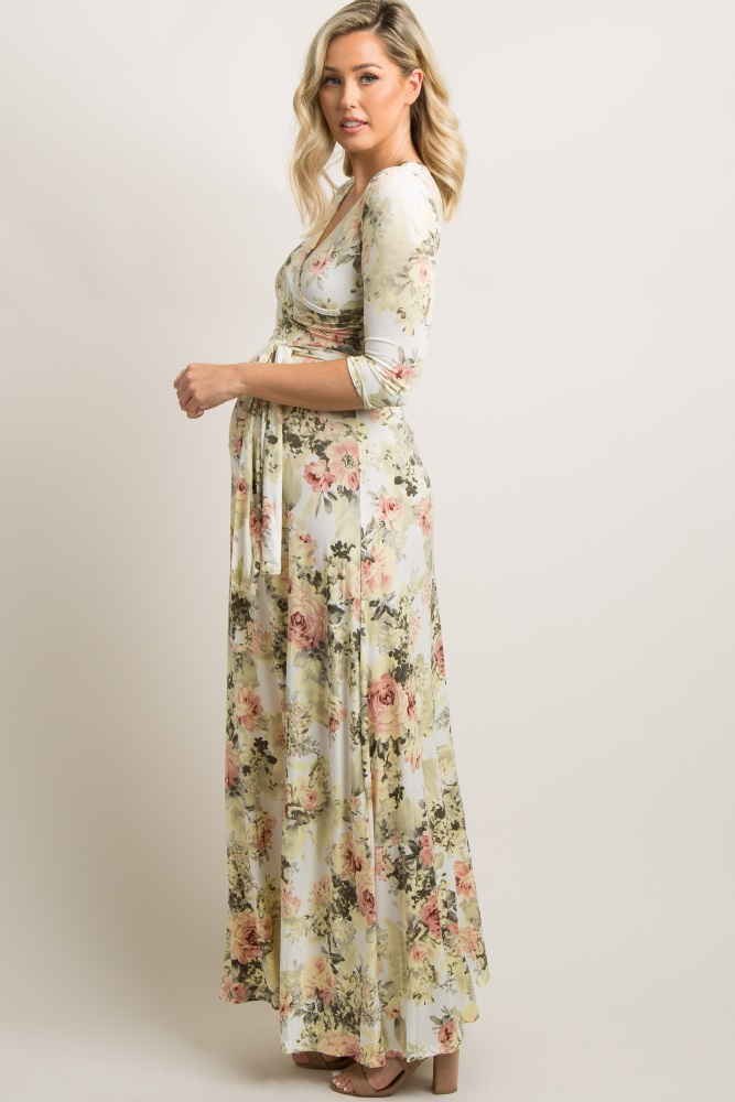 96be69a7de2cd Ivory Floral Maternity Wrap Maxi Dress