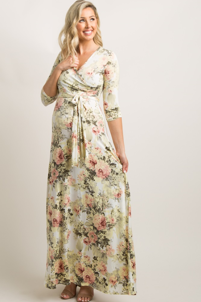 21423112b4bec Ivory Floral Maternity Wrap Maxi Dress