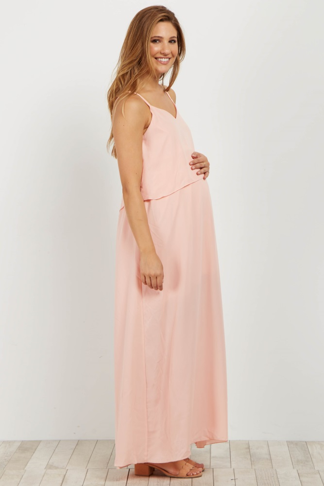 223f914509 Light Pink Overlay Chiffon Maternity Maxi Dress