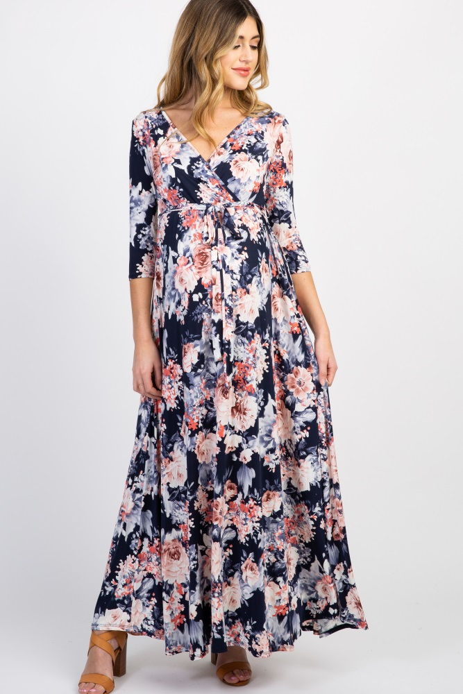 fd637f528cc24 Navy Floral Maternity/Nursing Wrap Dress