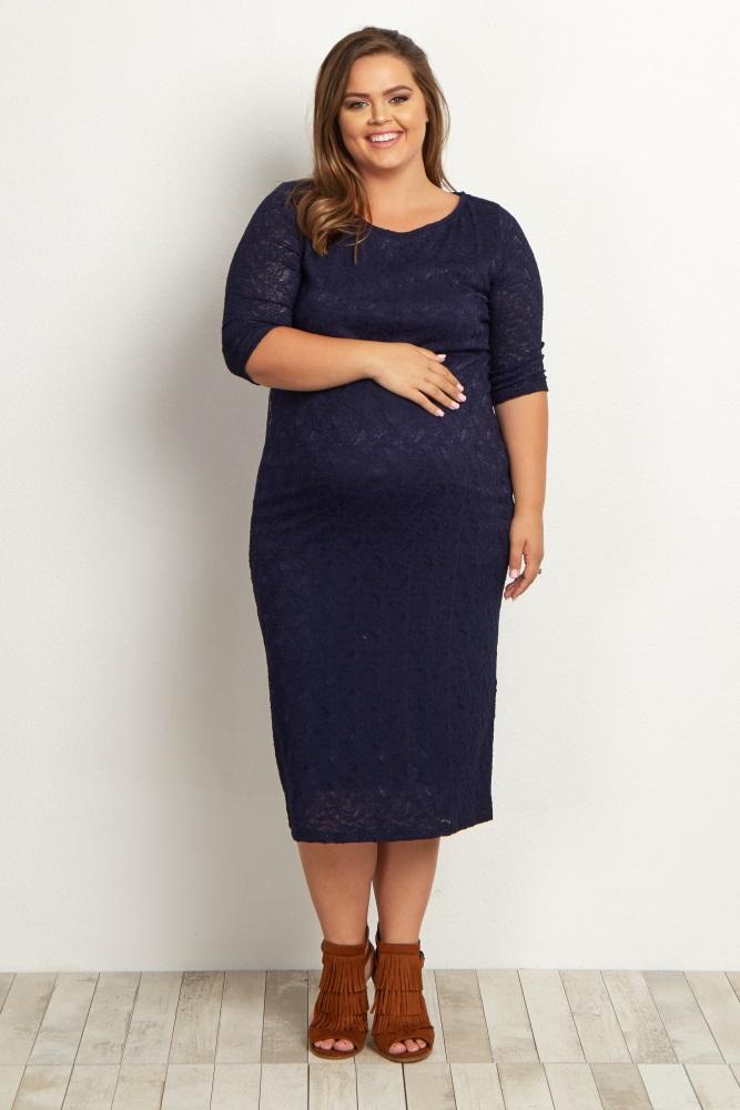 3eb2ba463b7 Navy Lace Plus Maternity Dress