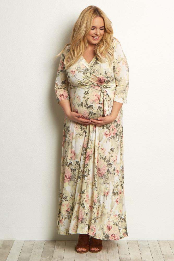 Ivory Floral Plus Wrap Dress