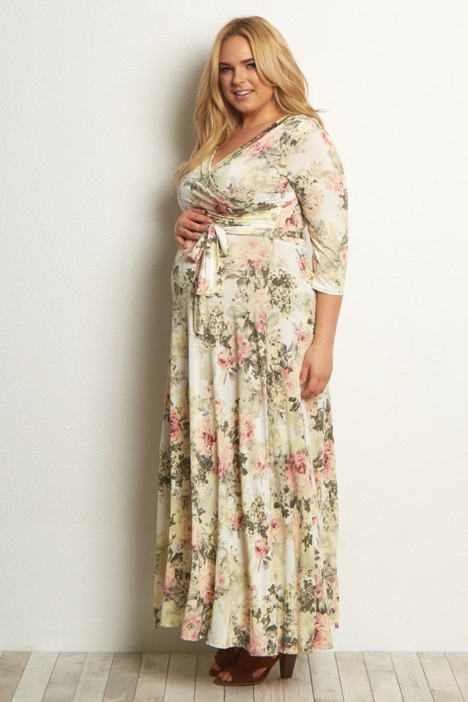 ad026b764fc3b Ivory Floral Plus Maternity/Nursing Wrap Dress