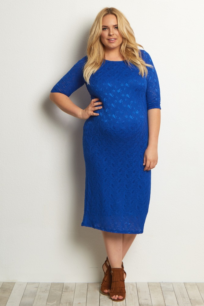 Royal Blue Lace Plus Size Maternity Dress