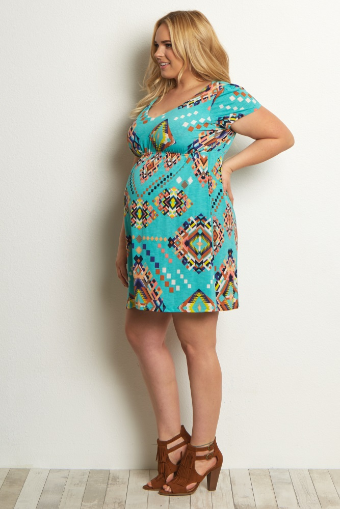Aqua Tribal Plus Size Babydoll Maternity Dress