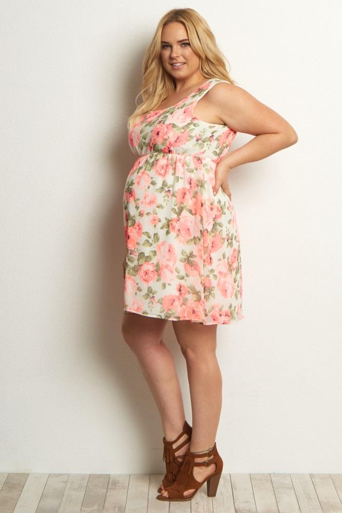 74ee75ea0ba5f Ivory Neon Floral Chiffon Plus Size Maternity Dress