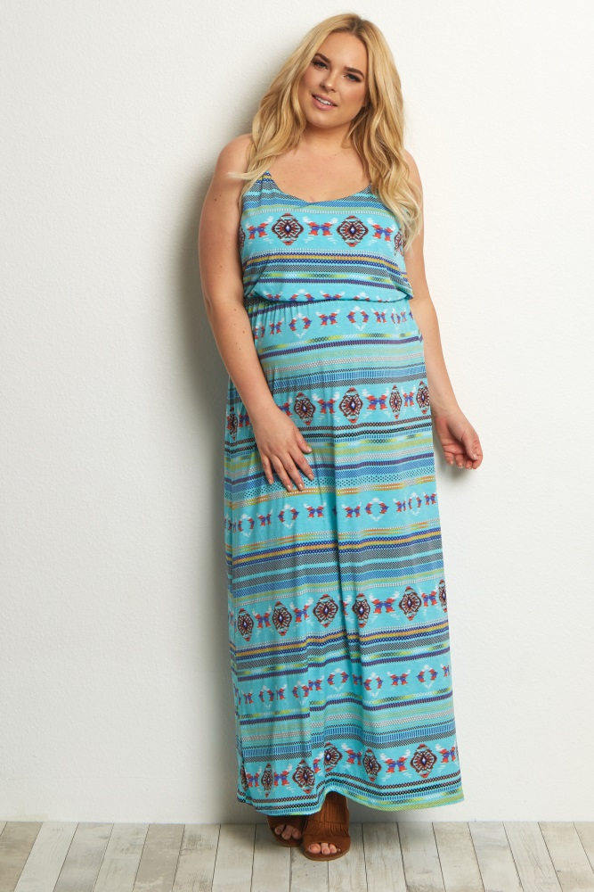 Jade Tribal Plus Size Maternity Maxi Dress