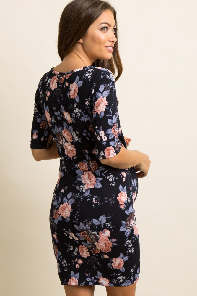 bb6e888b9d8 Tall Navy Floral Fitted Maternity Dress