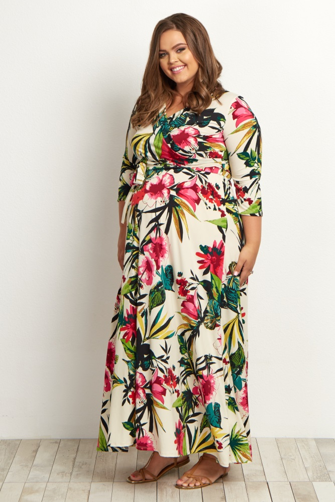 Ivory Tropical Plus Size Maxi Dress