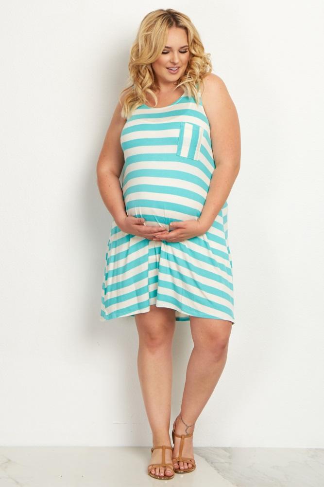 Mint Green Striped Pocket Front Plus Size Dress