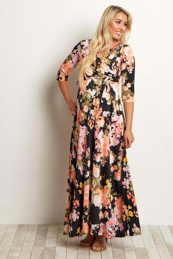 7f04b53170213 Black Floral Sash Tie Maternity/Nursing Dress
