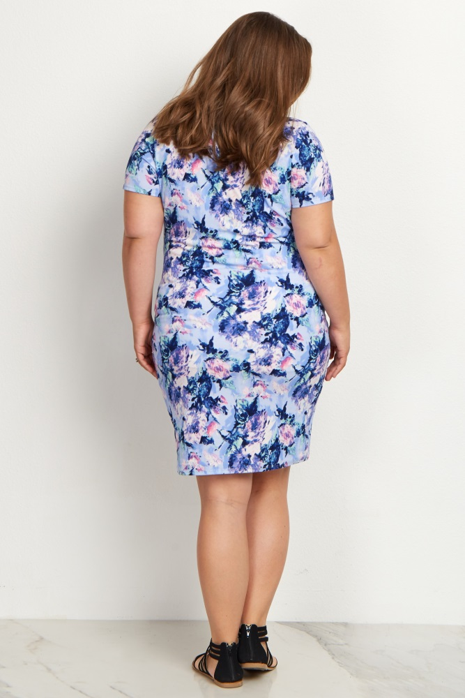 6906baa9cd02b Light Blue Floral Fitted Plus Size Maternity Dress